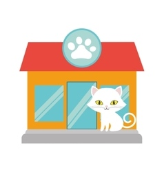 Small cat yellow eyes pet shop facade paw print vector