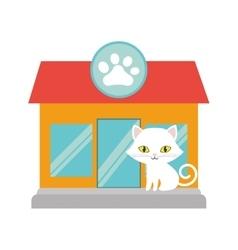small cat yellow eyes pet shop facade paw print vector image