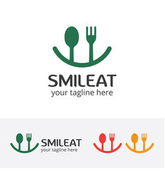 Smile eat logo happy food vector