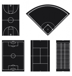 sport field layouts in black vector image vector image