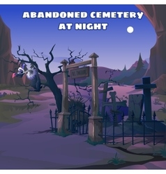 Vulture in an abandoned cemetery at night vector