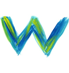 Watercolor font letter w vector