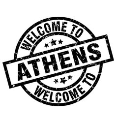 Welcome to athens black stamp vector