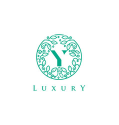 Y letter logo luxurybeauty cosmetics logo vector
