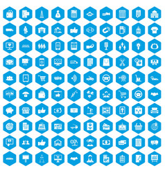 100 business icons set blue vector image