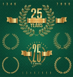 Anniversary golden emblems and decorative elements vector