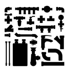 Water pipes icons isolated vector image