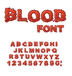 Blood font red liquid letter fluid lettring bloody vector