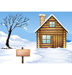 Signboard dying tree house vector image