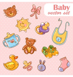 Baby toys cute cartoon set vector image