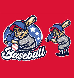 Kid as a baseball batter vector