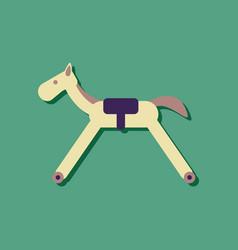 flat icon design kids rocking horse in sticker vector image
