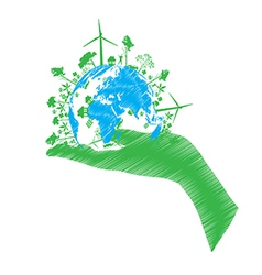 Green eco world isolated on white vector