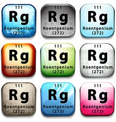 A button showing the element roentgenium vector