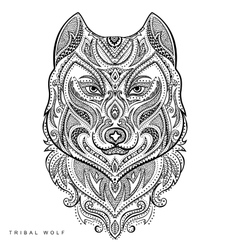 Tribal style wolf totem tattoo vector