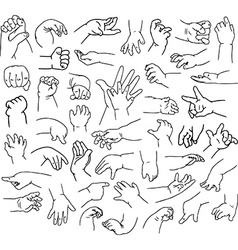 Baby hands pack lineart vector