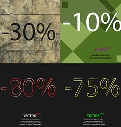 10 80 75 icon set of percent discount on abstract vector