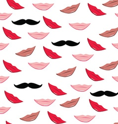 Lips and mustache pattern vector