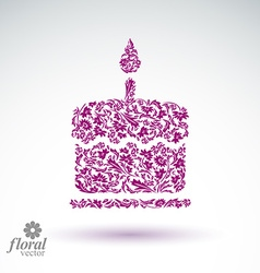 Burning wax candle flower-patterned vector
