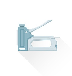 Flat metal staple gun icon vector