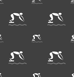 Summer sports diving icon sign seamless pattern on vector