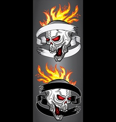 Halloween scary skull paper ribbon fire flames vector