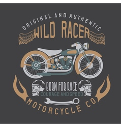 Wild racer vintage print with motorcyclewings and vector