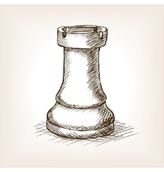 Rook chess piece hand drawn sketch style vector