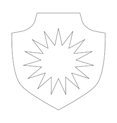 Shield icon outline style vector