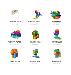 Brain creative mind man head learning icons vector
