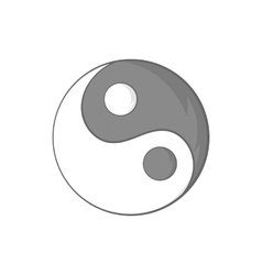 Yin yang sign icon in cartoon style vector