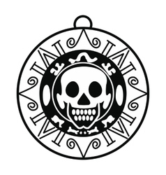Aztec pirate coin icon simple style vector