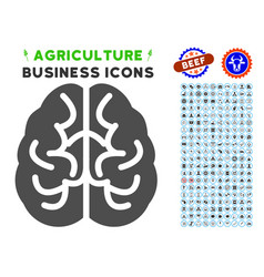 Brain icon with agriculture set vector