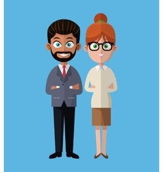 Cartoon woman and man group team work office vector