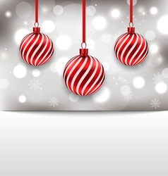 Christmas glossy card with red balls - vector image vector image