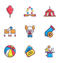 Circus show icons set flat style vector