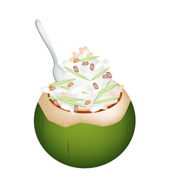 Coconut ice cream with nuts and green rice noodles vector