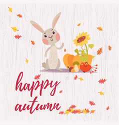 cute happy autumn greeting card vector image