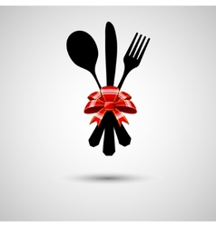 Cutlery with bow vector image vector image