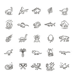 dinosaur icons dinosaur egg and volcano vector image vector image