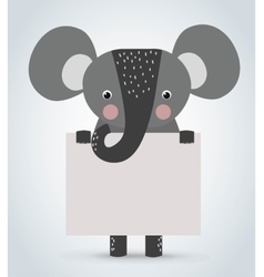 Elephant wild cartoon animal holding clean welcome vector