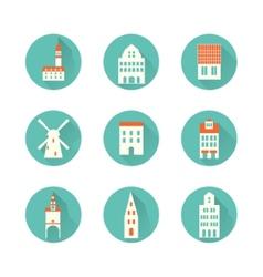 Europe hous city icon vector