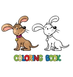 Funny puppy coloring book vector