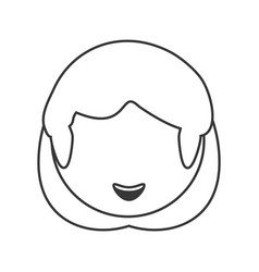 Head woman female outline vector