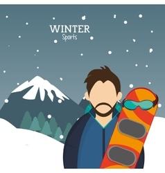 Man snowboarding glasses alps mountains snow vector