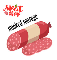 meat - smoked sausage fresh meat icon vector image