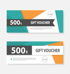 Orange green gift voucher ticket template design vector