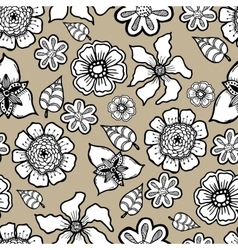 Ornate floral pattern with flowers doodle sharpie vector