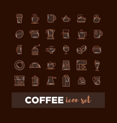 outline web icon set - drink coffee tea vector image