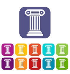 Roman column icons set vector